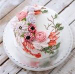 Hình ảnh bánh sinh nhật họa tiết hoa lá 3D - 14