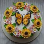 Hình ảnh bánh sinh nhật họa tiết hoa lá 3D - 13