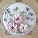 Hình ảnh bánh sinh nhật họa tiết hoa lá 3D - 12