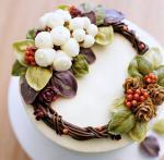 Hình ảnh bánh sinh nhật họa tiết hoa lá 3D - 9