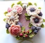 Hình ảnh bánh sinh nhật họa tiết hoa lá 3D - 6