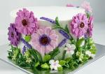 Hình ảnh bánh sinh nhật họa tiết hoa lá 3D - 1