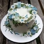 Hình ảnh bánh sinh nhật họa tiết hoa lá 3D - 21