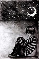 Ảnh hoạt hình tâm trạng con trai thu mình trong niềm đau và nỗi cô đơn