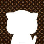 Avatar Facebook mặc định chú mèo dễ thương độc đáo trên nền thương hiệu LV